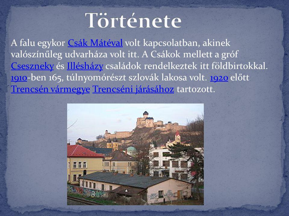 A falu egykor Csák Mátéval volt kapcsolatban, akinek valószínűleg udvarháza volt itt. A Csákok mellett a gróf Cseszneky és Illésházy családok rendelke