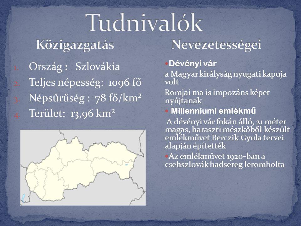 1. Ország : Szlovákia 2. Teljes népesség: 1096 fő 3. Népsűrűség : 78 fő/km² 4. Terület: 13,96 km²  Dévényi vár a Magyar királyság nyugati kapuja volt