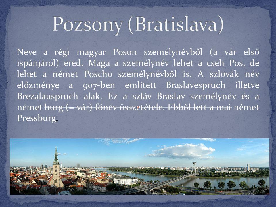 Neve a régi magyar Poson személynévből (a vár első ispánjáról) ered. Maga a személynév lehet a cseh Pos, de lehet a német Poscho személynévből is. A s