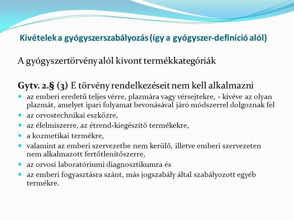 Kivételek a gyógyszerszabályozás (így a gyógyszer-definíció alól) A gyógyszertörvény alól kivont termékkategóriák Gytv. 2.§ (3) E törvény rendelkezése