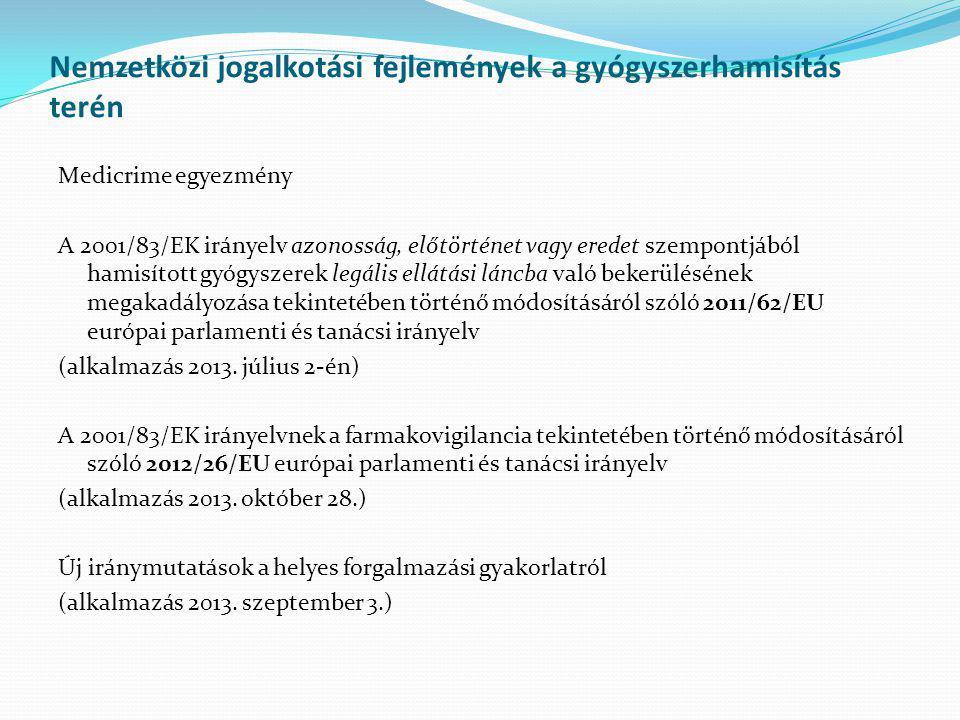 Nemzetközi jogalkotási fejlemények a gyógyszerhamisítás terén Medicrime egyezmény A 2001/83/EK irányelv azonosság, előtörténet vagy eredet szempontjáb