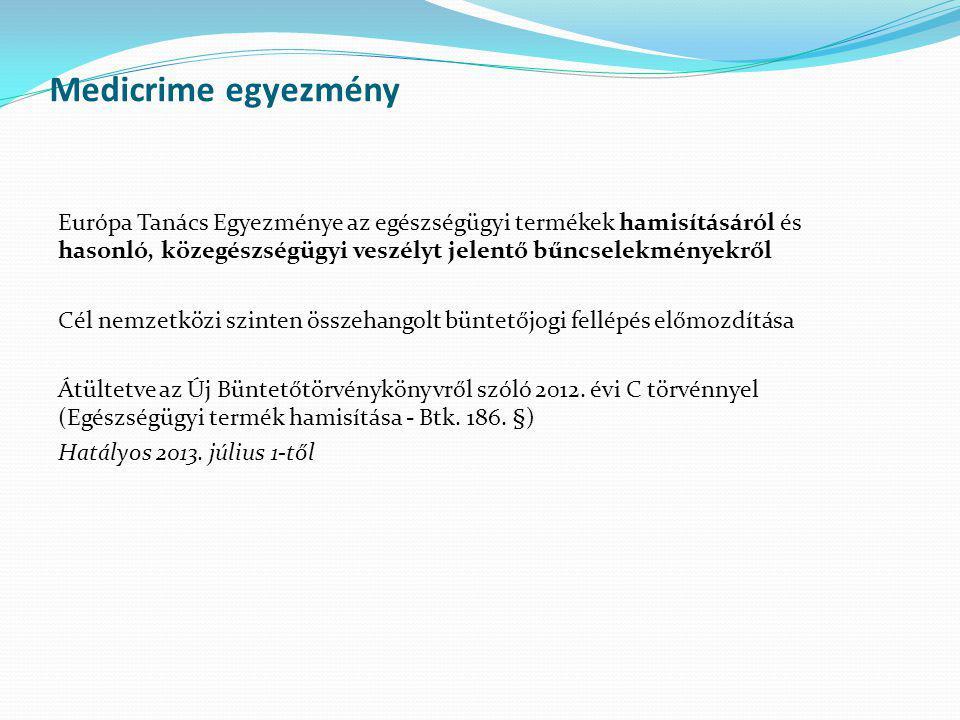 Medicrime egyezmény Európa Tanács Egyezménye az egészségügyi termékek hamisításáról és hasonló, közegészségügyi veszélyt jelentő bűncselekményekről Cé