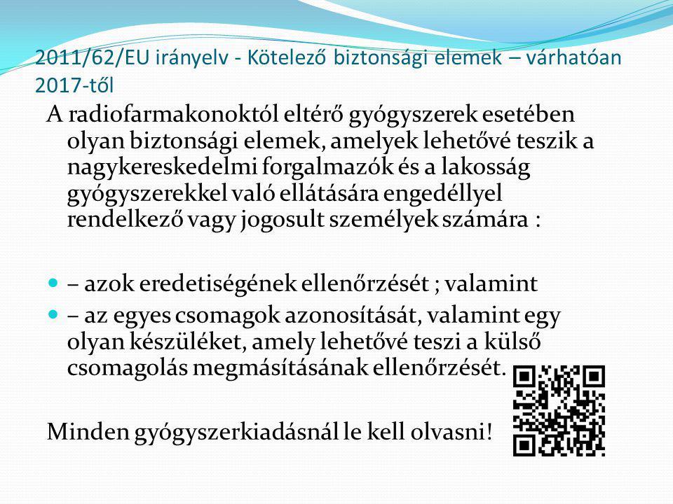 2011/62/EU irányelv - Kötelező biztonsági elemek – várhatóan 2017-től A radiofarmakonoktól eltérő gyógyszerek esetében olyan biztonsági elemek, amelye