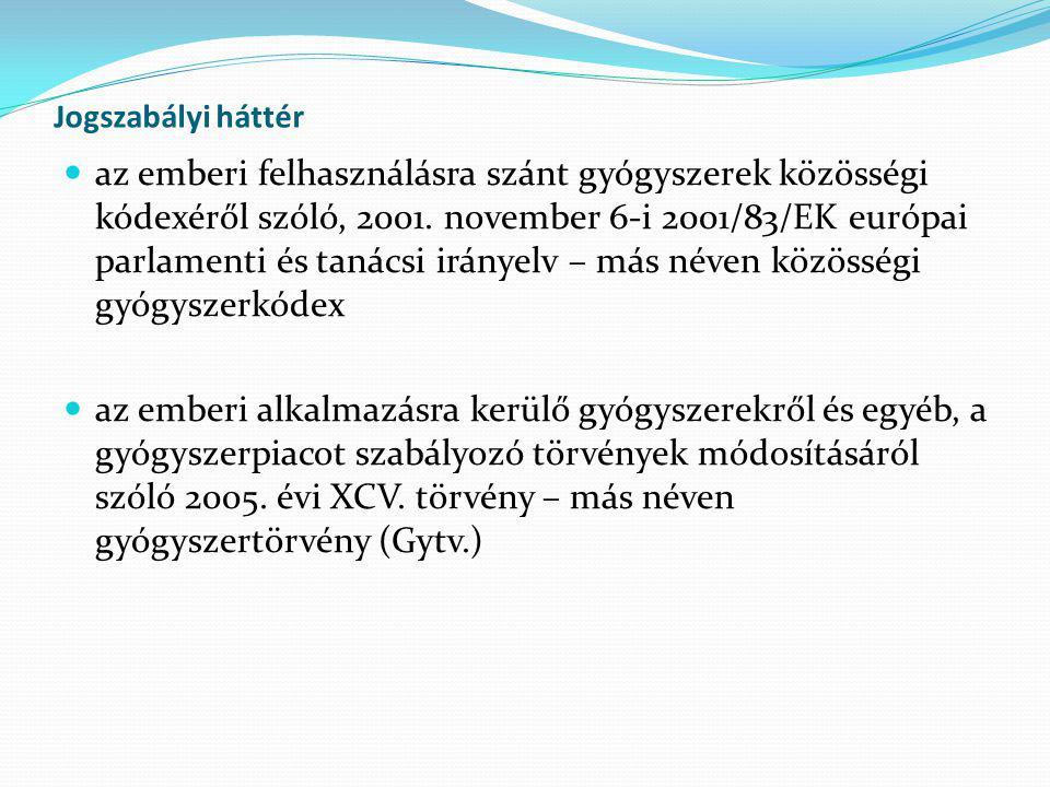 Jogszabályi háttér  az emberi felhasználásra szánt gyógyszerek közösségi kódexéről szóló, 2001. november 6-i 2001/83/EK európai parlamenti és tanácsi