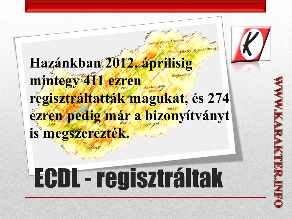 ECDL - regisztráltak Hazánkban 2012.