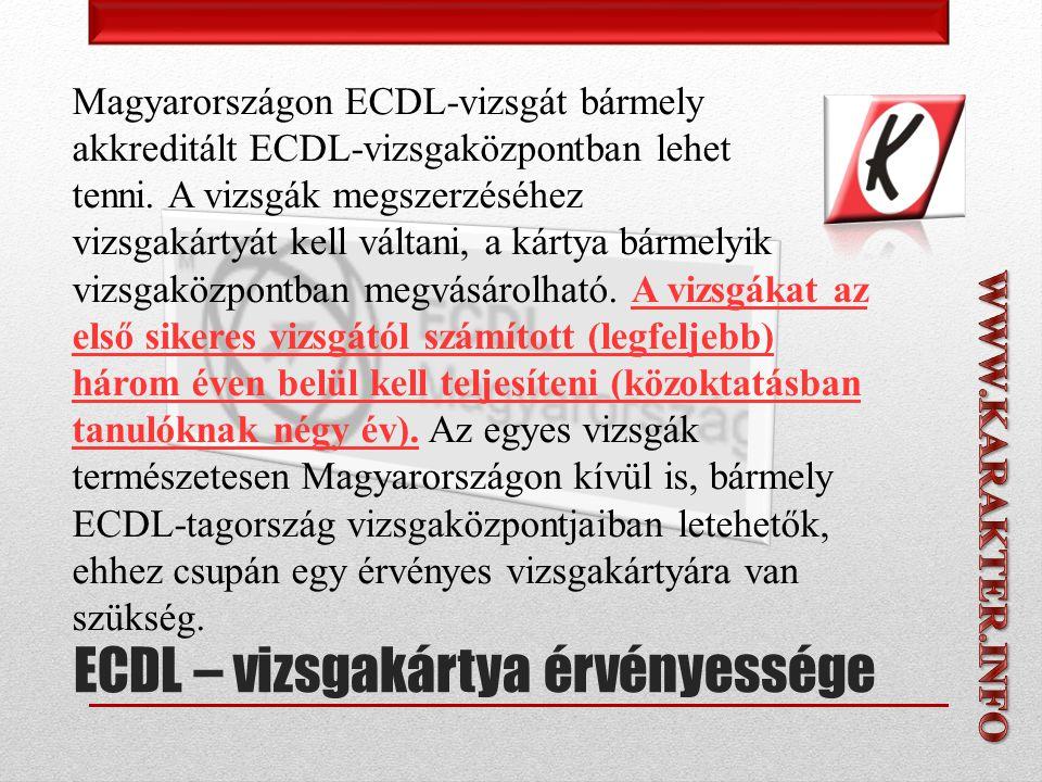 Magyarországon ECDL-vizsgát bármely akkreditált ECDL-vizsgaközpontban lehet tenni.