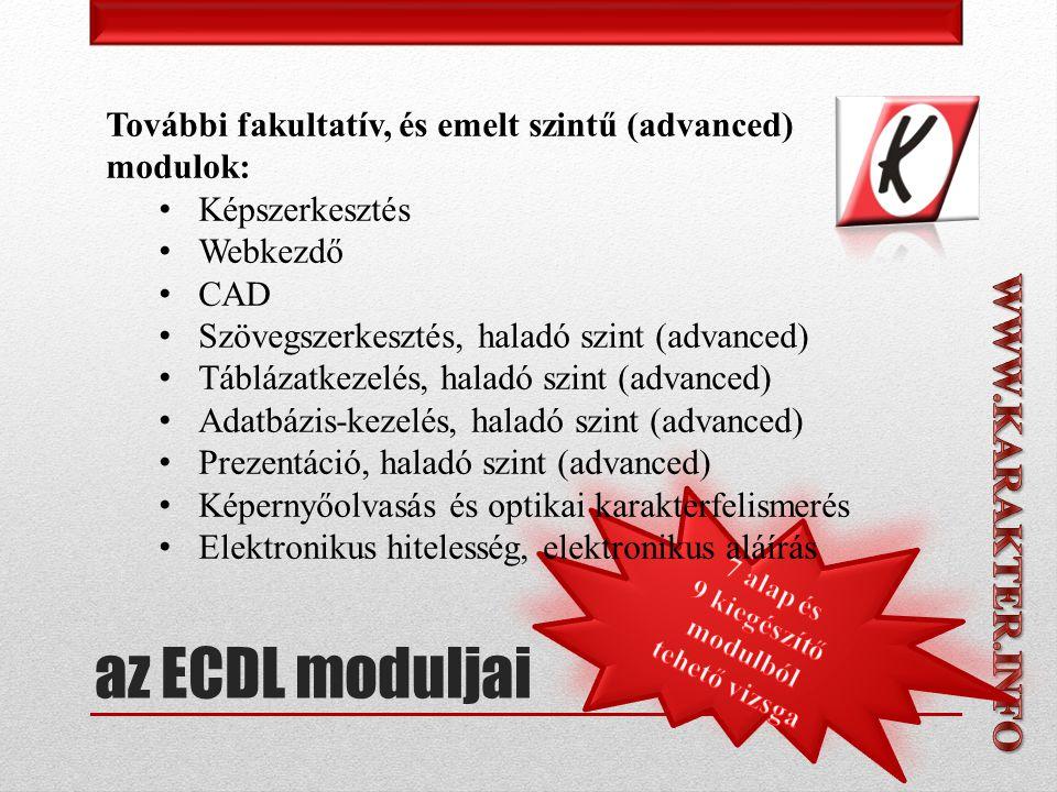 További fakultatív, és emelt szintű (advanced) modulok: • Képszerkesztés • Webkezdő • CAD • Szövegszerkesztés, haladó szint (advanced) • Táblázatkezelés, haladó szint (advanced) • Adatbázis-kezelés, haladó szint (advanced) • Prezentáció, haladó szint (advanced) • Képernyőolvasás és optikai karakterfelismerés • Elektronikus hitelesség, elektronikus aláírás az ECDL moduljai