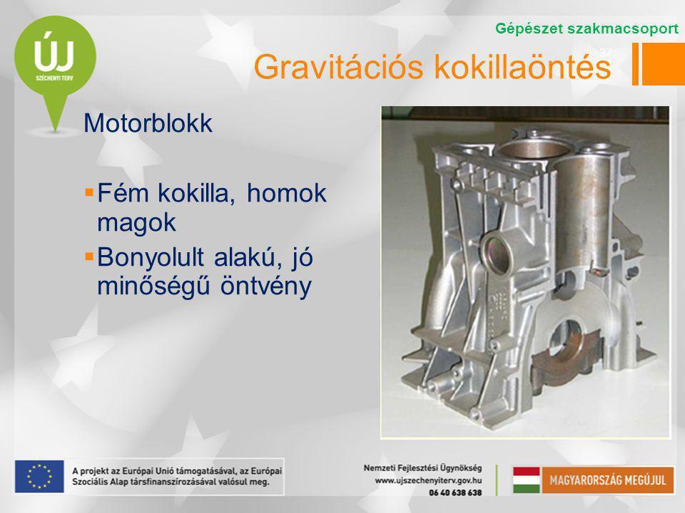 37 Motorblokk  Fém kokilla, homok magok  Bonyolult alakú, jó minőségű öntvény Gépészet szakmacsoport Gravitációs kokillaöntés