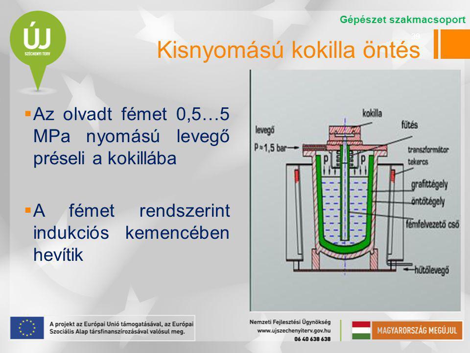 39 Kisnyomású kokilla öntés  Az olvadt fémet 0,5…5 MPa nyomású levegő préseli a kokillába  A fémet rendszerint indukciós kemencében hevítik Gépészet szakmacsoport