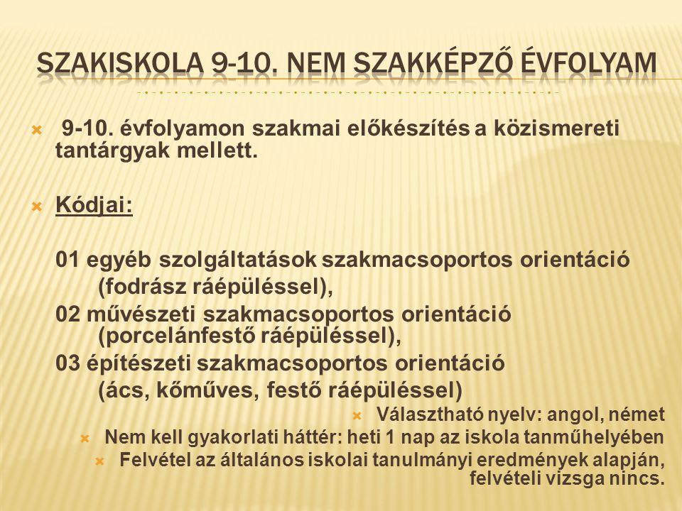  9-10. évfolyamon szakmai előkészítés a közismereti tantárgyak mellett.  Kódjai: 01 egyéb szolgáltatások szakmacsoportos orientáció (fodrász ráépülé