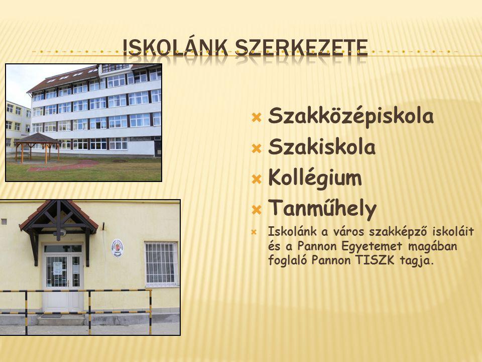  Szakközépiskola  Szakiskola  Kollégium  Tanműhely  Iskolánk a város szakképző iskoláit és a Pannon Egyetemet magában foglaló Pannon TISZK tagja.
