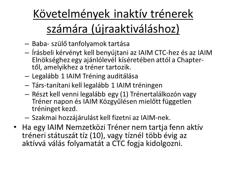 Követelmények inaktív trénerek számára (újraaktiváláshoz) – Baba- szülő tanfolyamok tartása – Írásbeli kérvényt kell benyújtani az IAIM CTC-hez és az IAIM Elnökséghez egy ajánlólevél kíséretében attól a Chapter- től, amelyikhez a tréner tartozik.