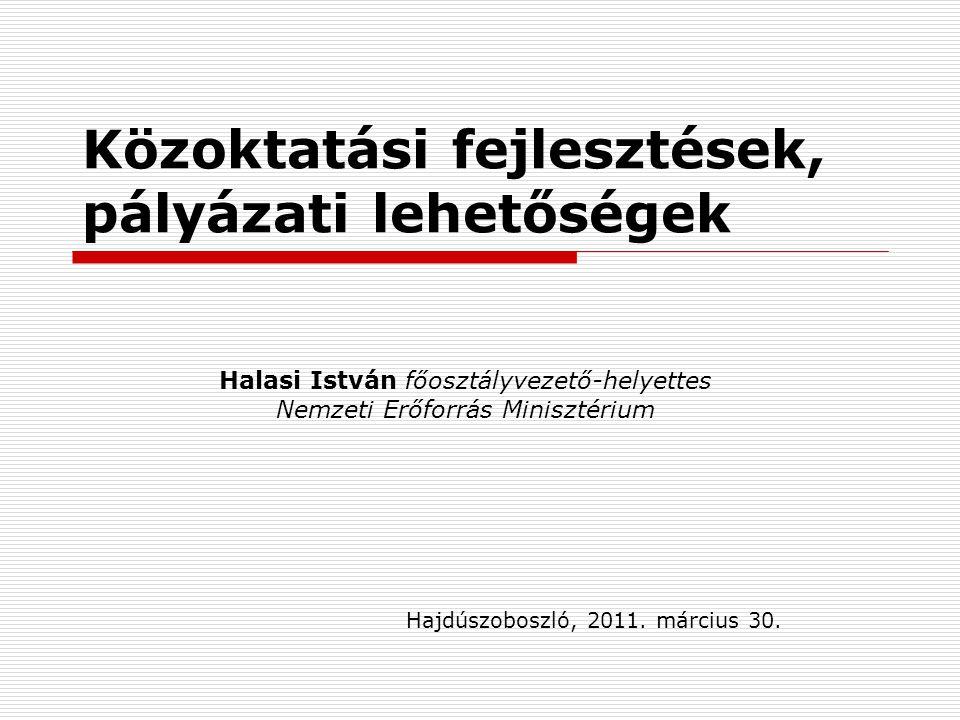 Közoktatási fejlesztések, pályázati lehetőségek Hajdúszoboszló, 2011.