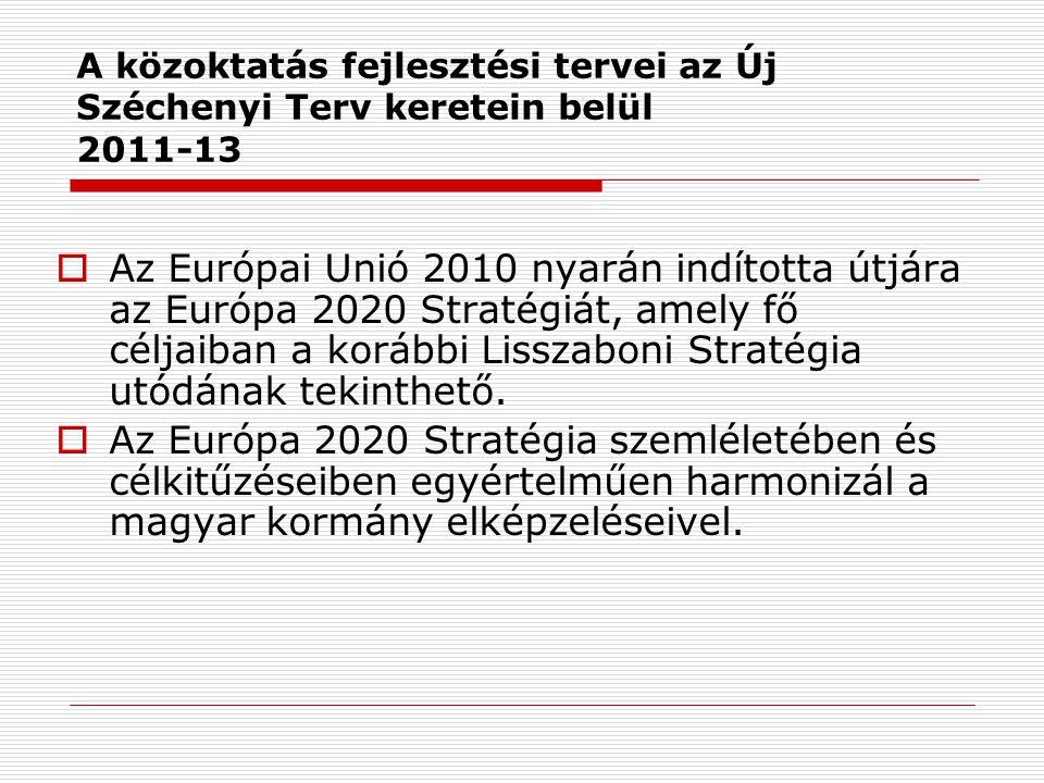 A közoktatás fejlesztési tervei az Új Széchenyi Terv keretein belül 2011-13  Az Európai Unió 2010 nyarán indította útjára az Európa 2020 Stratégiát, amely fő céljaiban a korábbi Lisszaboni Stratégia utódának tekinthető.