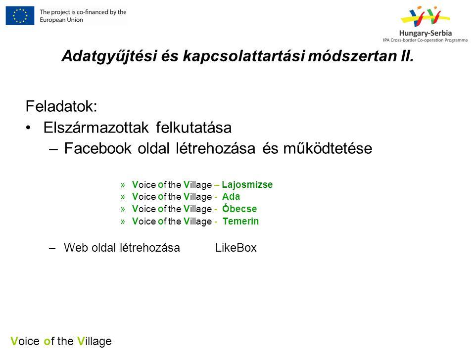 Voice of the Village Adatgyűjtési és kapcsolattartási módszertan II.