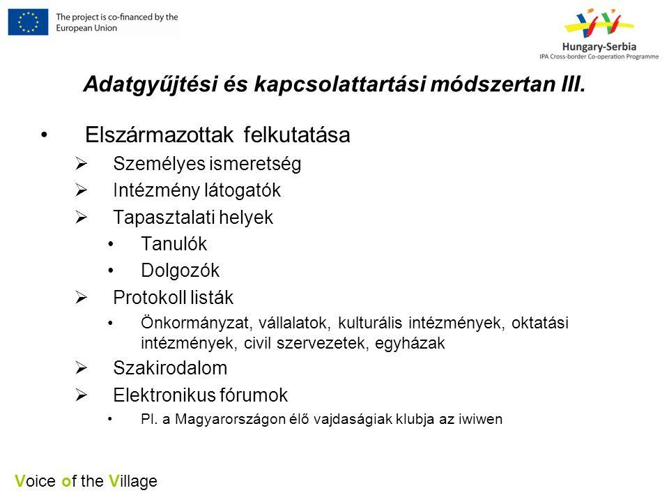 Voice of the Village Adatgyűjtési és kapcsolattartási módszertan III.