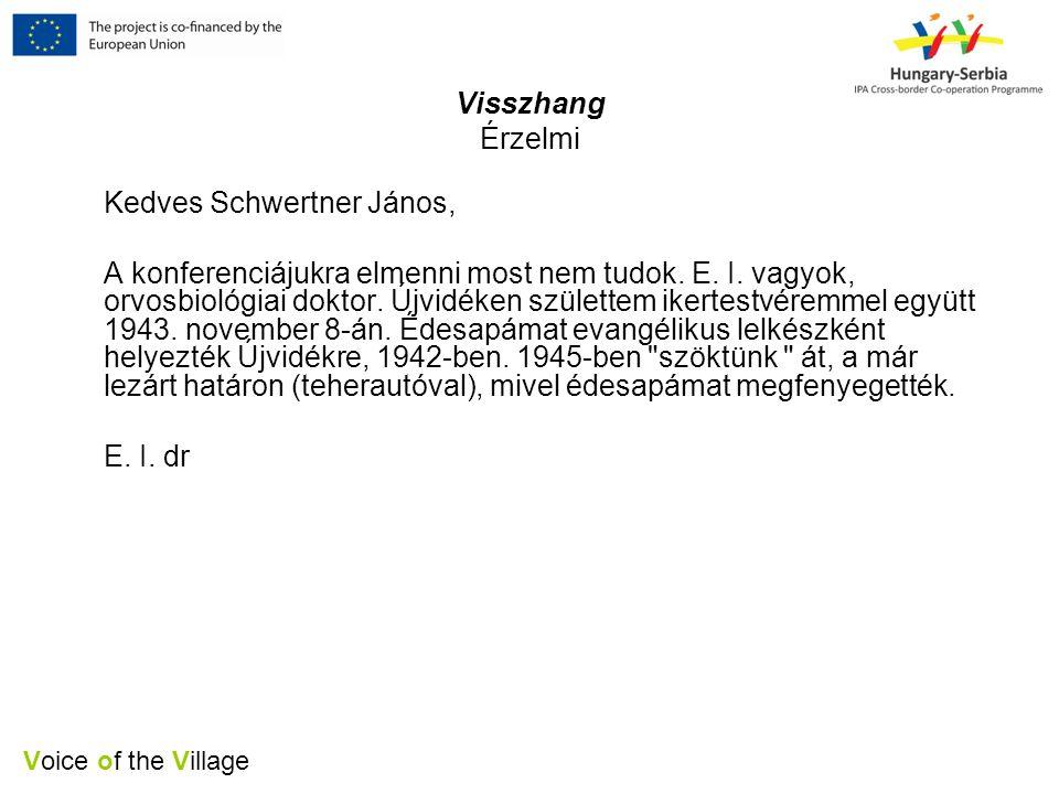 Voice of the Village Visszhang Érzelmi Kedves Schwertner János, A konferenciájukra elmenni most nem tudok.