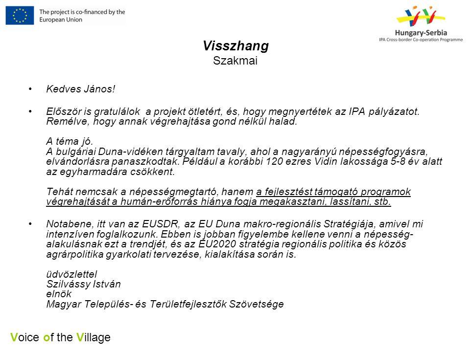 Voice of the Village Visszhang Szakmai •Kedves János.