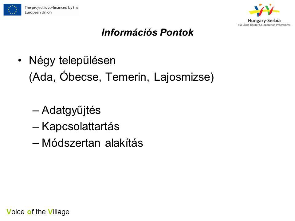 Voice of the Village Információs Pontok •Négy településen (Ada, Óbecse, Temerin, Lajosmizse) –Adatgyűjtés –Kapcsolattartás –Módszertan alakítás