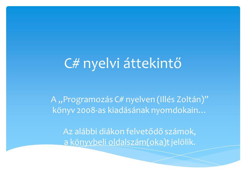  Illés Zoltán.: Programozás C# nyelven JOS, 2008, Második, átdolgozott kiadás  Internetes:  http://www.jos.hu (érettségi feladatok) http://www.jos.hu  http://msdn.microsoft.com http://msdn.microsoft.com  Teljes C# referencia  http://msdn.microsoft.com/en- us/library/618ayhy6(v=vs.110) http://msdn.microsoft.com/en- us/library/618ayhy6(v=vs.110) Felhasznált irodalom