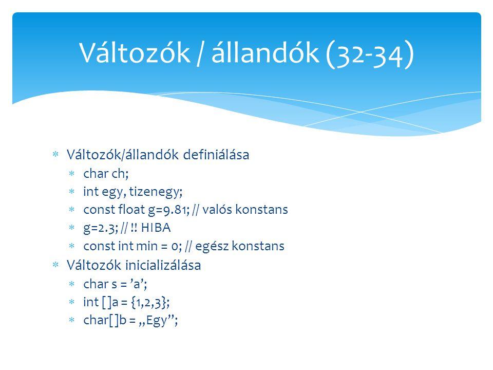  Változók/állandók definiálása  char ch;  int egy, tizenegy;  const float g=9.81; // valós konstans  g=2.3; // !! HIBA  const int min = 0; // eg