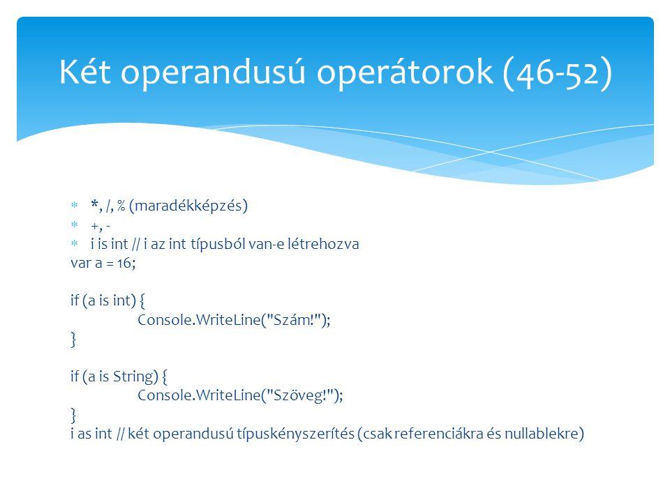  *, /, % (maradékképzés)  +, -  i is int // i az int típusból van-e létrehozva var a = 16; if (a is int) { Console.WriteLine(