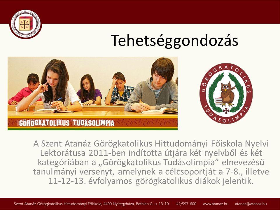 """A Szent Atanáz Görögkatolikus Hittudományi Főiskola Nyelvi Lektorátusa 2011-ben indította útjára két nyelvből és két kategóriában a """"Görögkatolikus Tudásolimpia elnevezésű tanulmányi versenyt, amelynek a célcsoportját a 7-8., illetve 11-12-13."""