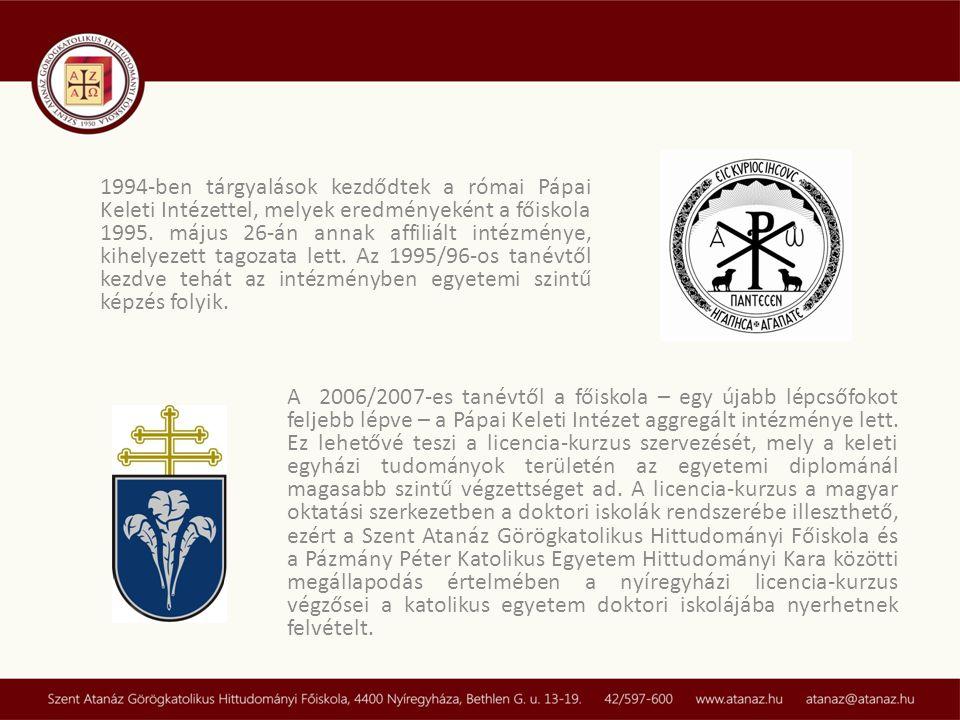 1994-ben tárgyalások kezdődtek a római Pápai Keleti Intézettel, melyek eredményeként a főiskola 1995. május 26-án annak affiliált intézménye, kihelyez