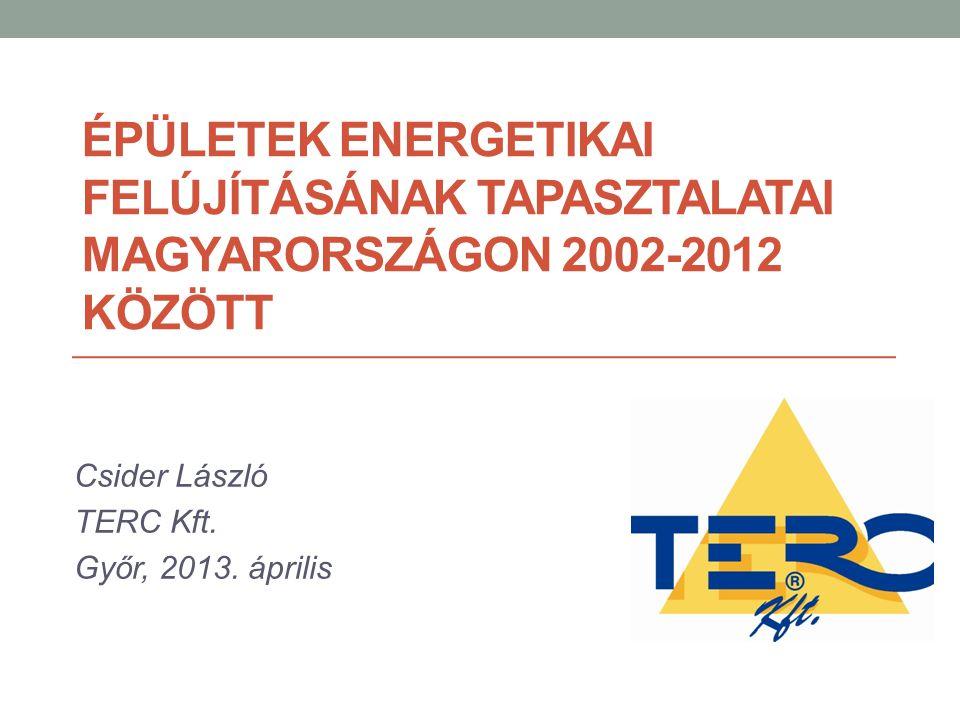 ÉPÜLETEK ENERGETIKAI FELÚJÍTÁSÁNAK TAPASZTALATAI MAGYARORSZÁGON 2002-2012 KÖZÖTT Csider László TERC Kft. Győr, 2013. április
