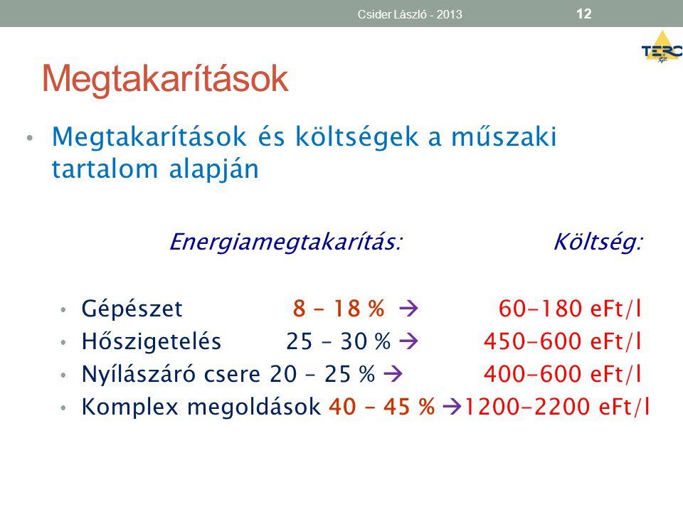 Megtakarítások • Megtakarítások és költségek a műszaki tartalom alapján Energiamegtakarítás:Költség: • Gépészet 8 – 18 %  60-180 eFt/l • Hőszigetelés
