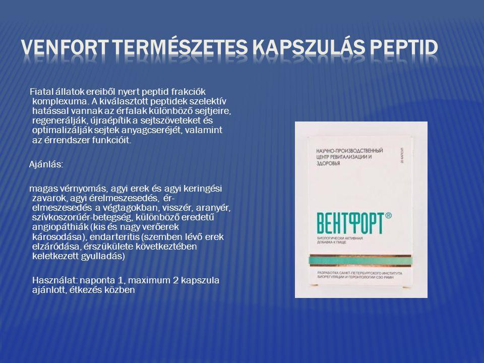 Fiatal állatok ereiből nyert peptid frakciók komplexuma. A kiválasztott peptidek szelektív hatással vannak az érfalak különböző sejtjeire, regeneráljá