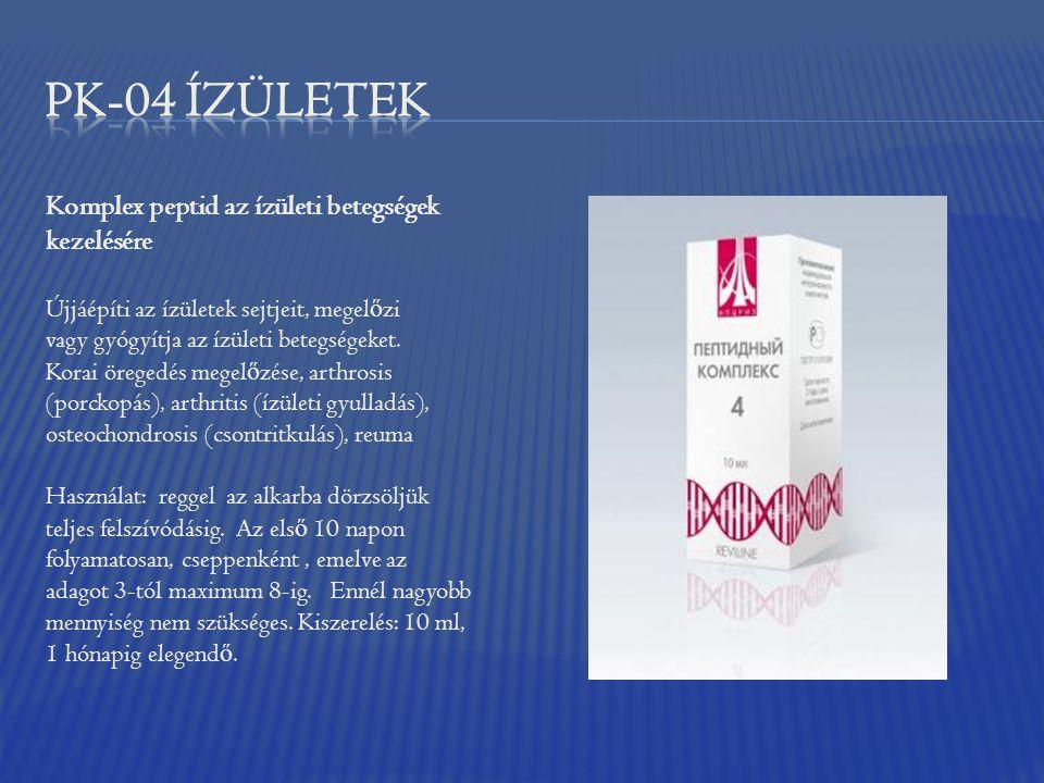 Komplex peptid az ízületi betegségek kezelésére Újjáépíti az ízületek sejtjeit, megel ő zi vagy gyógyítja az ízületi betegségeket. Korai öregedés mege