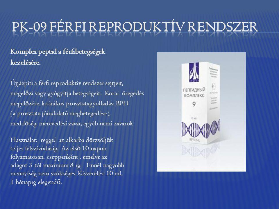 Komplex peptid a férfibetegségek kezelésére. Újjáépíti a férfi reproduktív rendszer sejtjeit, megel ő zi vagy gyógyítja betegségeit. Korai öregedés me