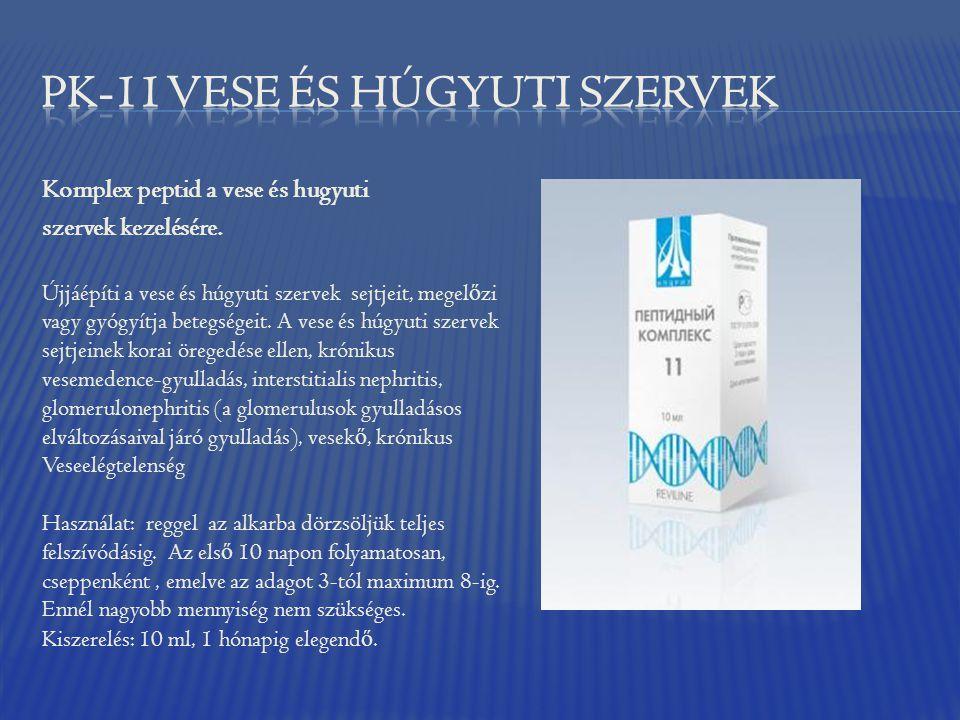 Komplex peptid a vese és hugyuti szervek kezelésére. Újjáépíti a vese és húgyuti szervek sejtjeit, megel ő zi vagy gyógyítja betegségeit. A vese és hú