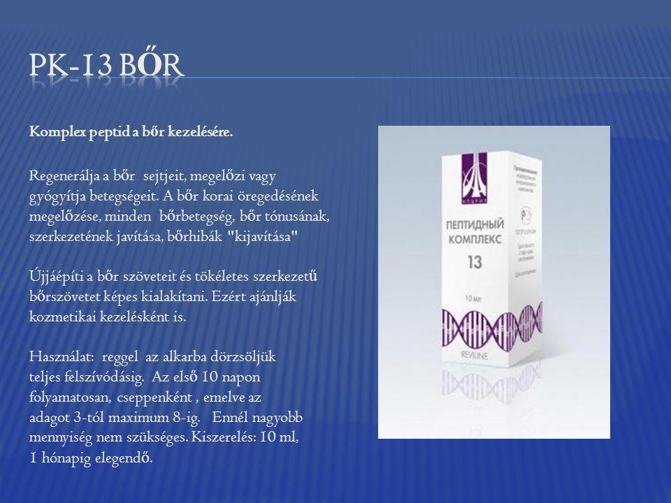 Komplex peptid a b ő r kezelésére. Regenerálja a b ő r sejtjeit, megel ő zi vagy gyógyítja betegségeit. A b ő r korai öregedésének megel ő zése, minde