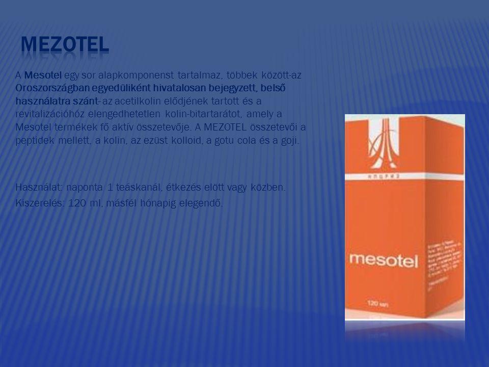 A Mesotel egy sor alapkomponenst tartalmaz, többek között-az Oroszországban egyedüliként hivatalosan bejegyzett, belső használatra szánt- az acetilkolin elődjének tartott és a revitalizációhóz elengedhetetlen kolin-bitartarátot, amely a Mesotel termékek fő aktív összetevője.