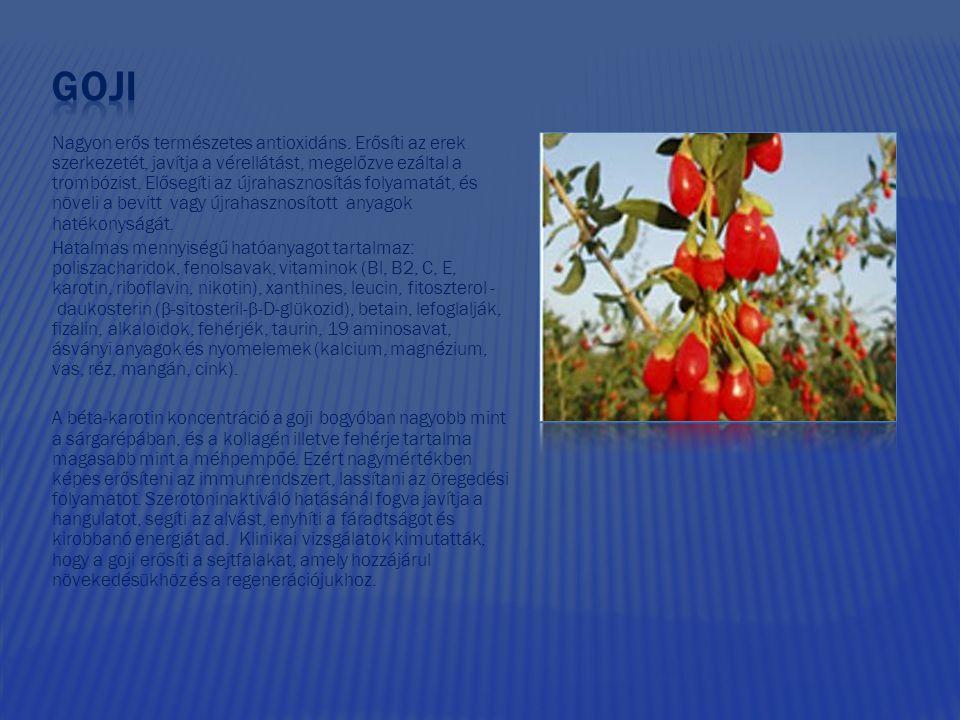 Nagyon erős természetes antioxidáns. Erősíti az erek szerkezetét, javítja a vérellátást, megelőzve ezáltal a trombózist. Elősegíti az újrahasznosítás
