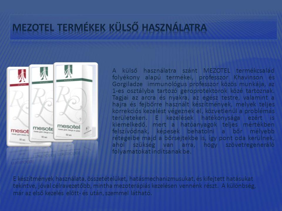 A külső használatra szánt MEZOTEL termékcsalád folyékony alapú termékei, professzor Khavinson és Gorgiladze immunológus professzor közös munkája, az 1-es osztályba tartozó geroprotektorok közé tartoznak.