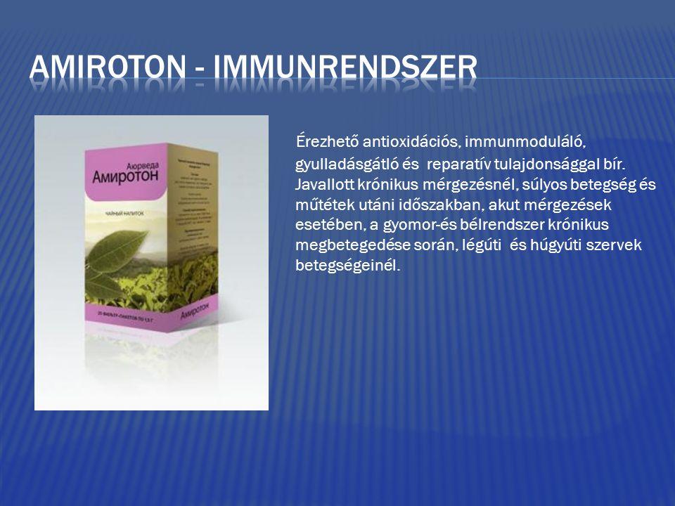 Érezhető antioxidációs, immunmoduláló, gyulladásgátló és reparatív tulajdonsággal bír. Javallott krónikus mérgezésnél, súlyos betegség és műtétek után