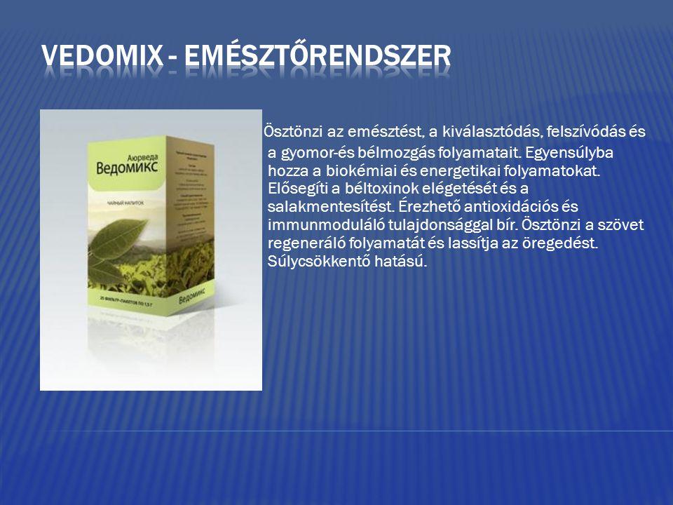 Ösztönzi az emésztést, a kiválasztódás, felszívódás és a gyomor-és bélmozgás folyamatait. Egyensúlyba hozza a biokémiai és energetikai folyamatokat. E