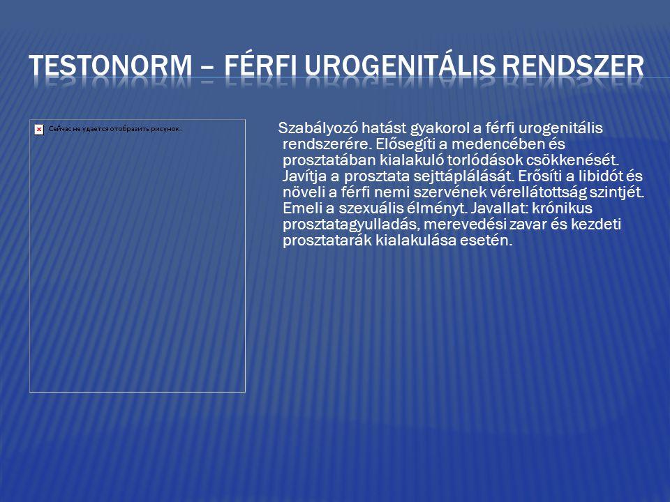 Szabályozó hatást gyakorol a férfi urogenitális rendszerére.