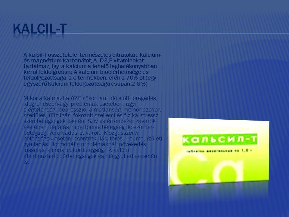 A kalsil-T összetétele természetes citrátokat, kalcium- és magnézium karbonátot, A, D3,E vitaminokat tartalmaz, így a kalcium a lehető leghatékonyabba