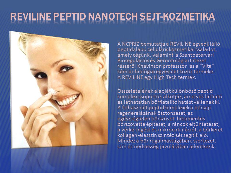 A NCPRIZ bemutatja a REVILINE egyedülálló peptidalapú celluláris kozmetikai családot, amely cégünk, valamint a Szentpétervári Bioregulációs és Gerontológiai Intézet részéről Khavinson professzor és a Vita kémiai-biológiai egyesület közös terméke.