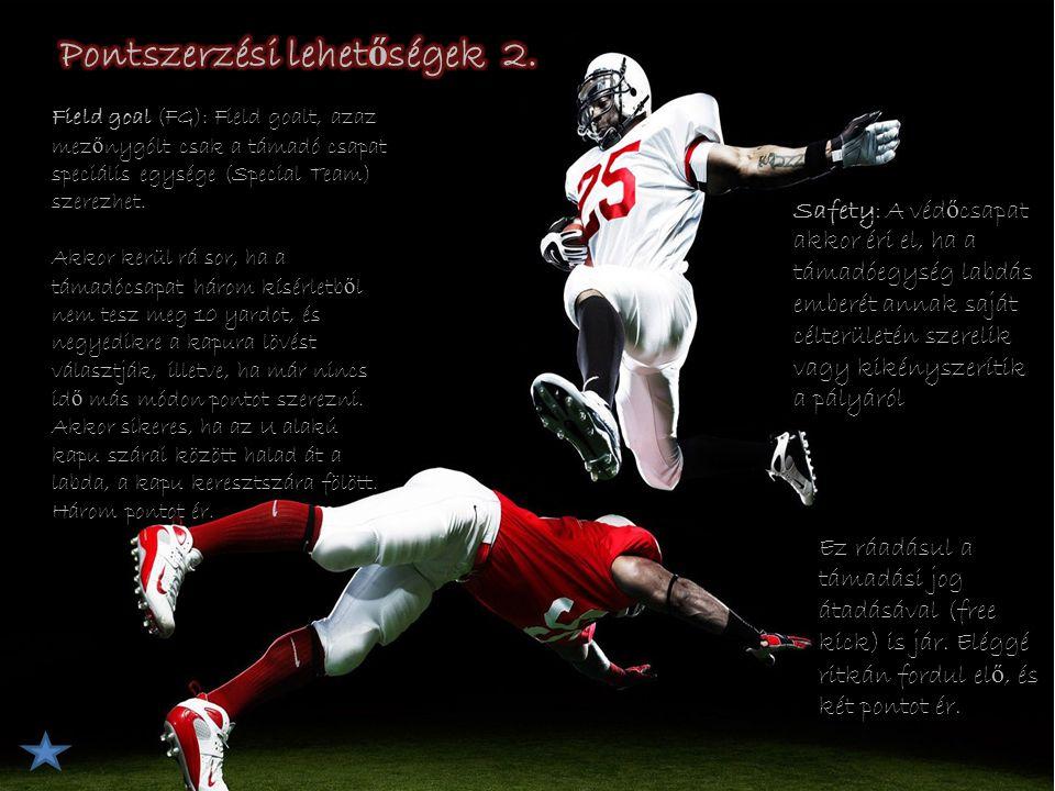Kicker (K) Punter (P) Kick returner/punt returner (KR/PR) Holder (H) Long snapper (LS) Gunner 1–19: irányító, rúgó, punter 10–19: széls ő elkapó 20–49: futó, cornerback, safety 40–49: tight end, •50–59: támadófal, linebacker •60–79: támadófal, véd ő fal •80–89: széls ő elkapó, tight end •90–99: linebacker, véd ő fal