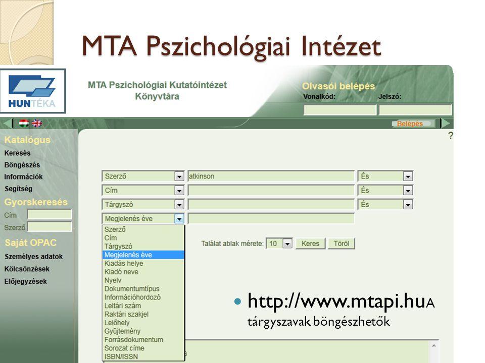 Nemzeti Munkaügyi Hiv. Közp. Kvt. katalógusa  www.nive.hu  A tárgyszavak böngészhetők 20