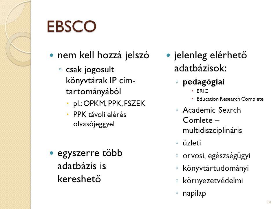 EBSCO adatbázisok