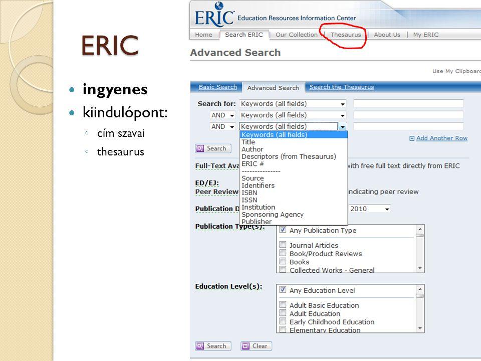 Fontos tudnivalók a használatáról  weben: http://www.eric.ed.govhttp://www.eric.ed.gov ingyenes, az OPKM honlapján van link  könyvtárban: http://search.epnet.comhttp://search.epnet.com ◦ állami licence alapján ◦ EBSCO szolgáltatásként ◦ nem kell hozzá jelszó ◦ teljesebb hozzáférés, mint az ingyenes ◦ csak jogosult könyvtárak IP cím- tartományából  pl.: OPKM, PPK, FSZEK 31