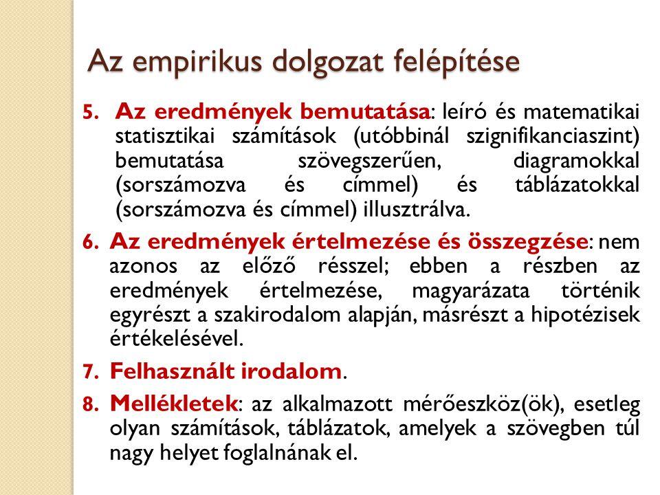 Az empirikus dolgozat felépítése 1.Problémafelvetés: a témaválasztás indoklása néhány mondatban.