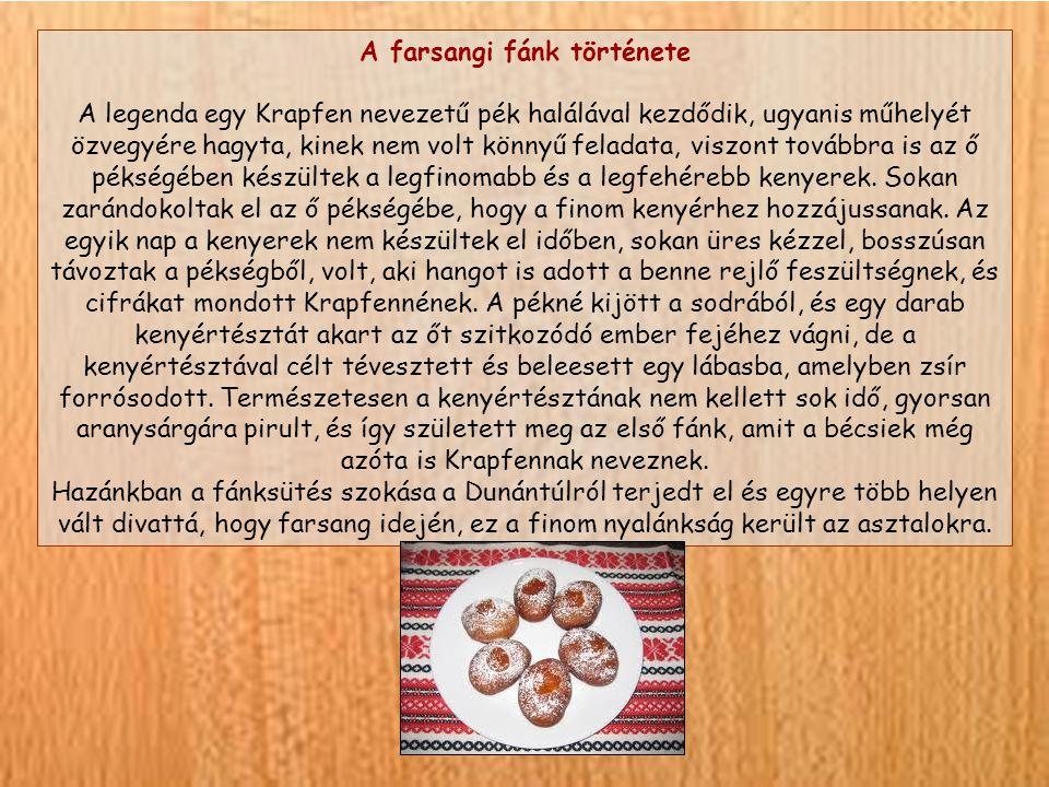 A farsangi fánk története A legenda egy Krapfen nevezetű pék halálával kezdődik, ugyanis műhelyét özvegyére hagyta, kinek nem volt könnyű feladata, viszont továbbra is az ő pékségében készültek a legfinomabb és a legfehérebb kenyerek.
