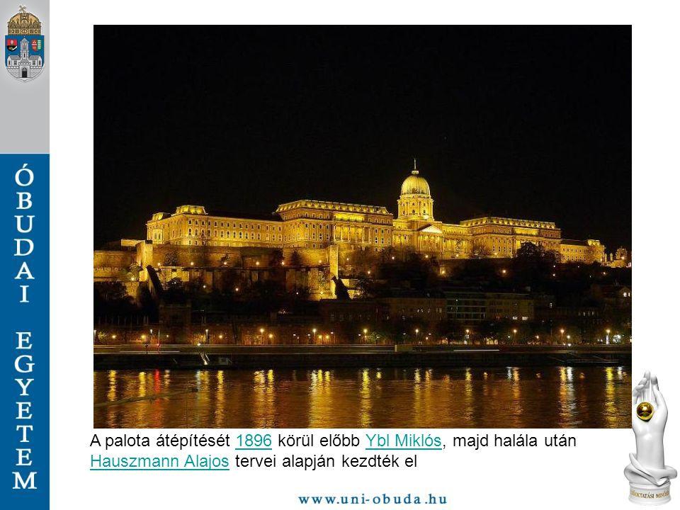 A palota átépítését 1896 körül előbb Ybl Miklós, majd halála után Hauszmann Alajos tervei alapján kezdték el1896Ybl Miklós Hauszmann Alajos